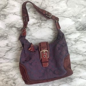 Coach Hampton Jacquard style leather/suede purse